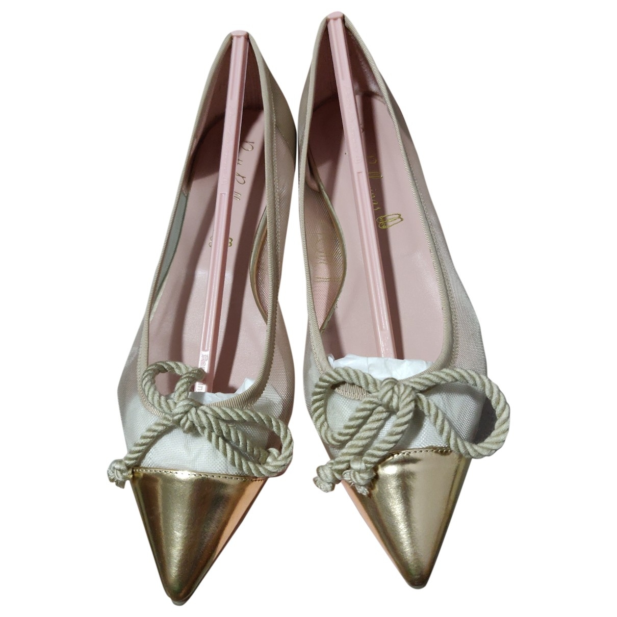 Pretty Ballerinas \N Ballerinas in  Gold Leder