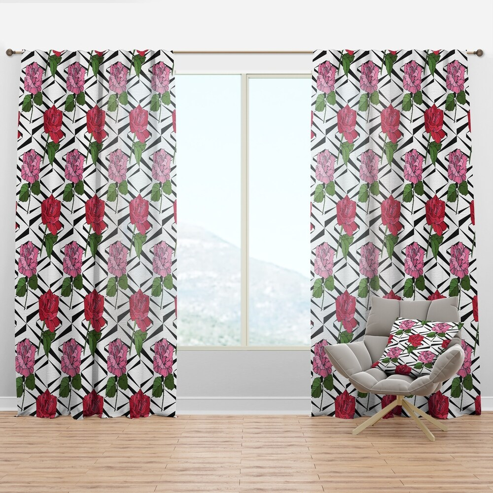 Designart 'Retro Pink And Red Roses' Mid-Century Modern Curtain Panel (50 in. wide x 63 in. high - 1 Panel)
