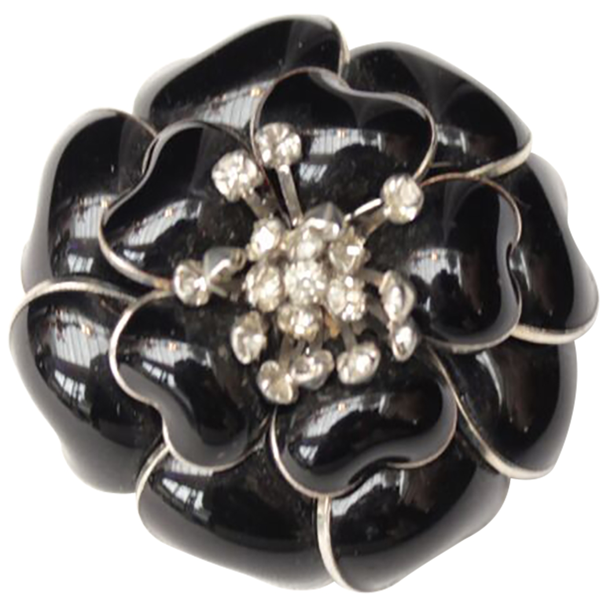 Non Signé / Unsigned Motifs Floraux Black Glass Pins & brooches for Women \N