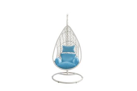 372211 Outdoor Egg Chair  wicker frame with steel stand powdercoating finish in white and seat cushions in