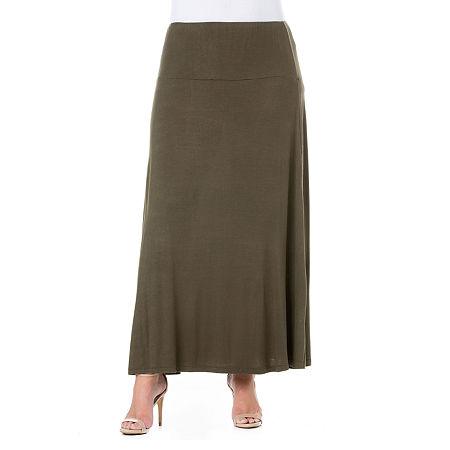 24/7 Comfort Apparel Elastic Waist Maxi Skirt - Plus, 1x , Green