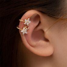 Gemstone Decor Floral Ear Cuff