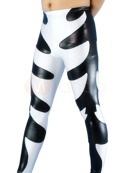 Milanoo Disfraz Halloween Blanco y Negro brillante Patron fondo metalico Lucha Libre Halloween