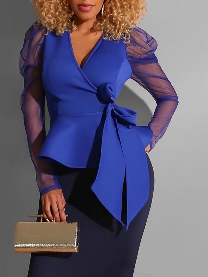 Ericdress Mesh Plain Puff Sleeve Standard Long Sleeve Women's Blouse