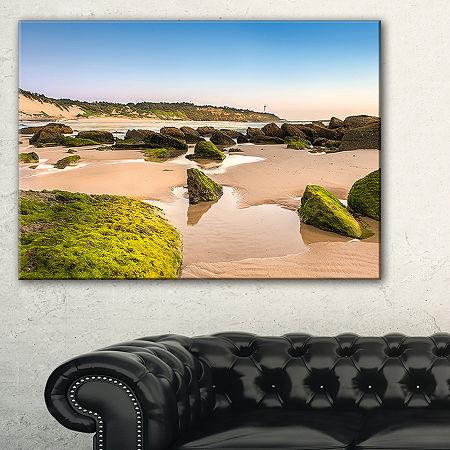 Designart Green Rocky Seashore At Norah Head Canvas Art, One Size , Blue