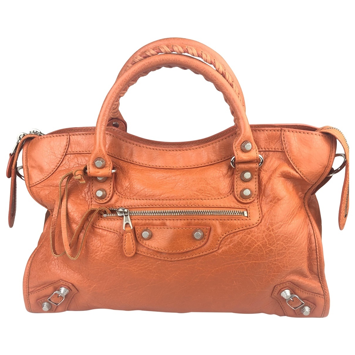 Balenciaga City Handtasche in  Orange Leder