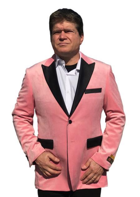 Mens Big/Tall Blazers Pink Cheap Velvet Velour Clear Blazer/Sport Coat