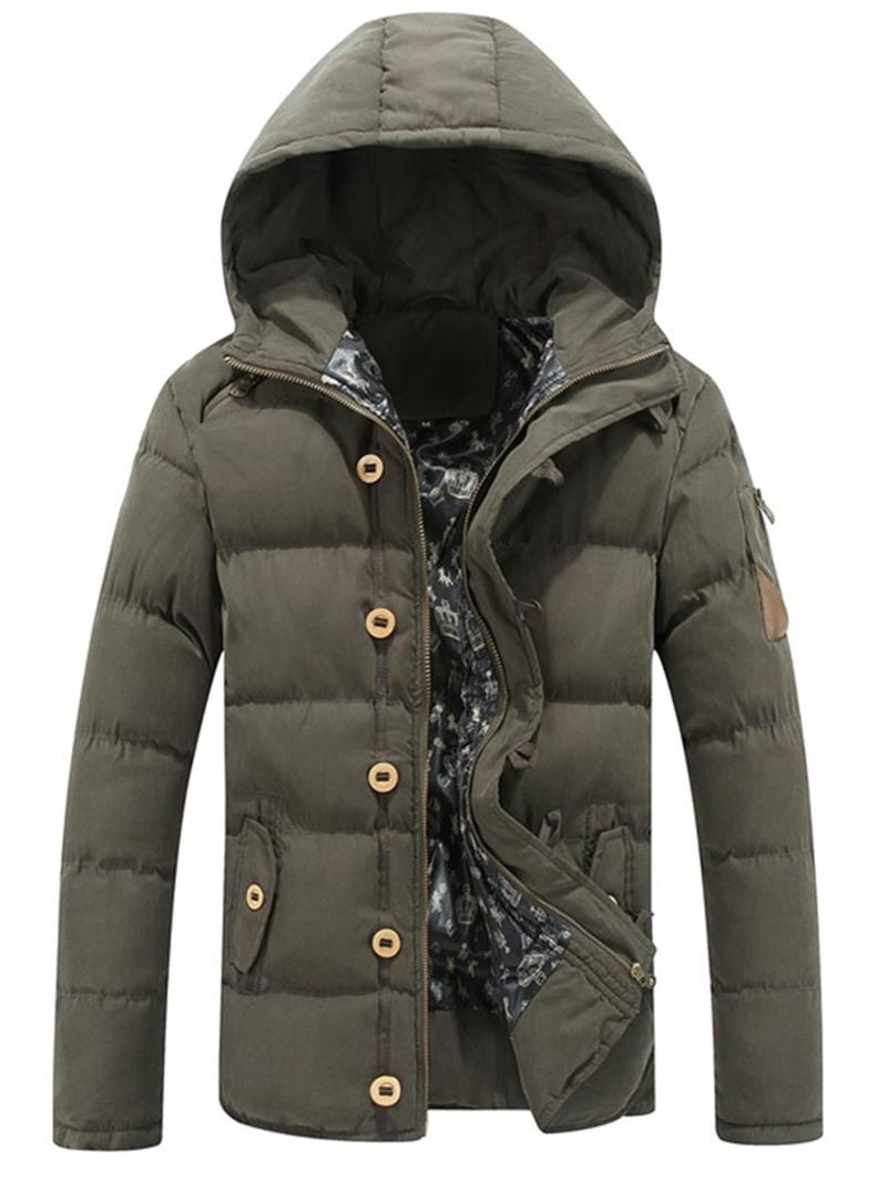 Ericdress Zipper Hooded Standard Casual Men's Down Jacket