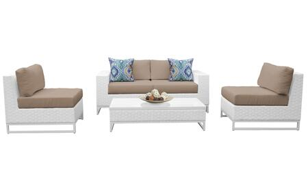 Miami MIAMI-05g-WHEAT 5-Piece Wicker Patio Furniture Set 05g with 2 Armless Chairs  Left Arm Chair  Right Arm Chair and Coffee Table - Sail White and