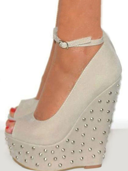 Milanoo Wedge Shoes Studded Peep Toe Ankle Strap Woman\s High Heels