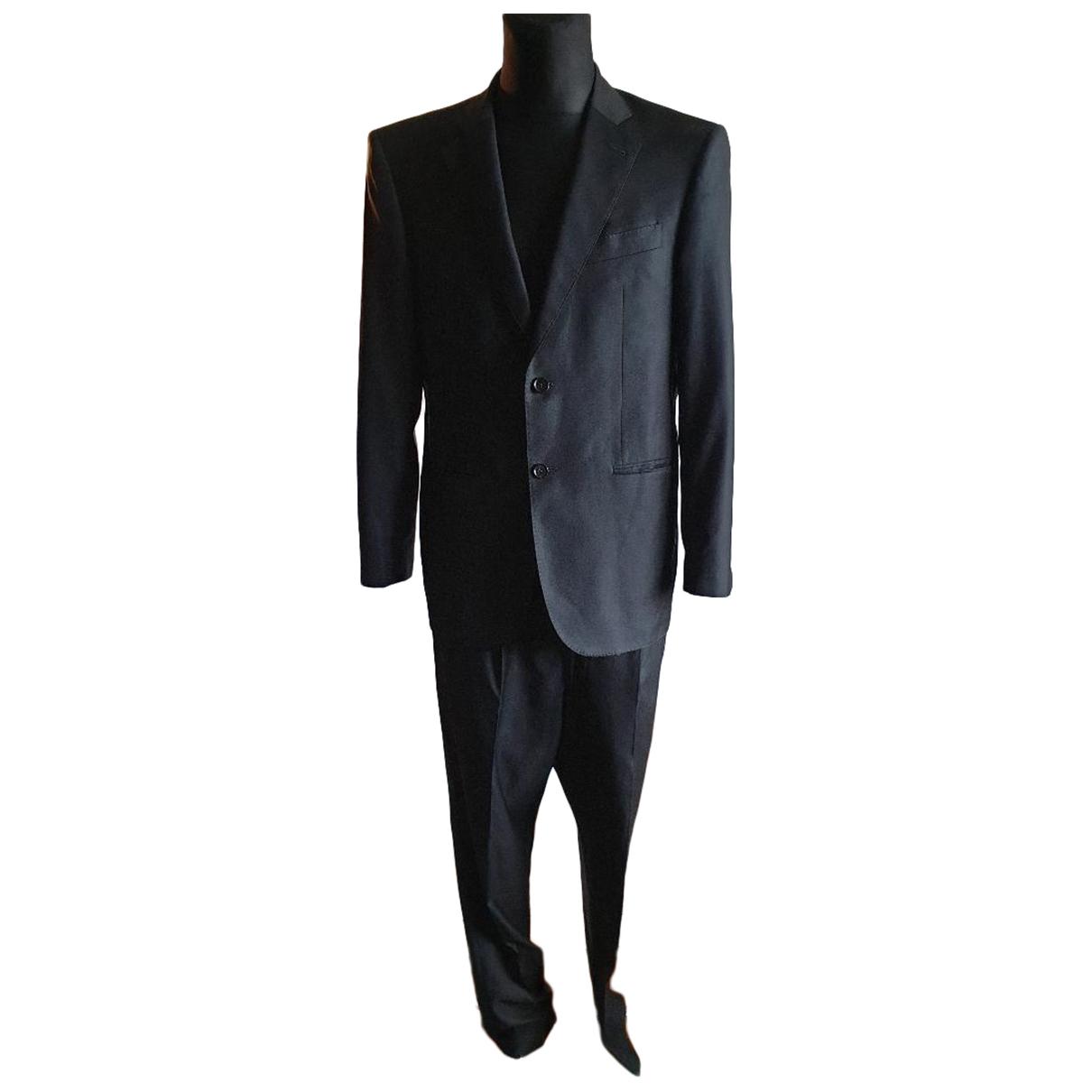 Autre Marque N Black Wool Suits for Men 48 IT