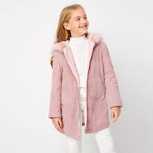 Girls Faux Fur Trim Zip Front Cord Coat