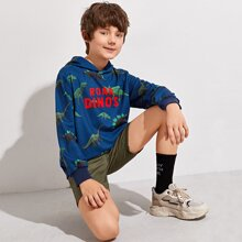 Boys Letter and Dinosaur Print Hoodie