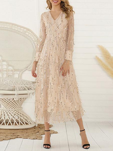 Milanoo Vestido largo Oro ligero con manga larga con lentejuela Vestidos con lentejuela Color liso en capas con cuello en V estilo informal