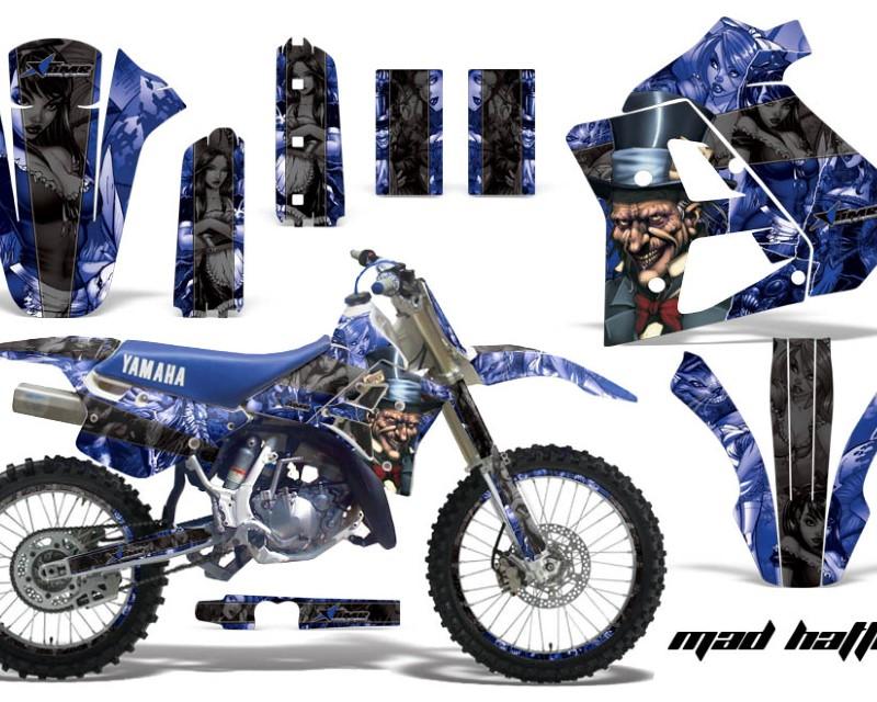 AMR Racing Graphics MX-NP-YAM-WR250Z-91-93-HAT K U Kit Decal Sticker Wrap + # Plates For Yamaha WR250Z 1991-1993 HATTER BLACK BLUE
