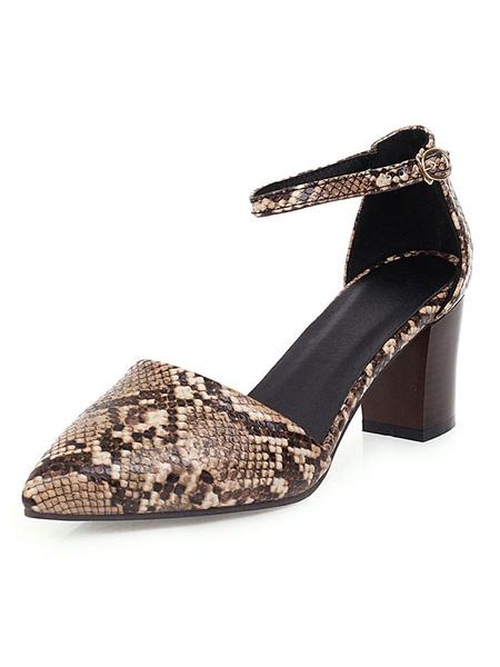 Milanoo Talones mediados del dedo del pie en punta bloque de pata de Orsay impresion de la serpiente bombea mas el tamaño de los zapatos