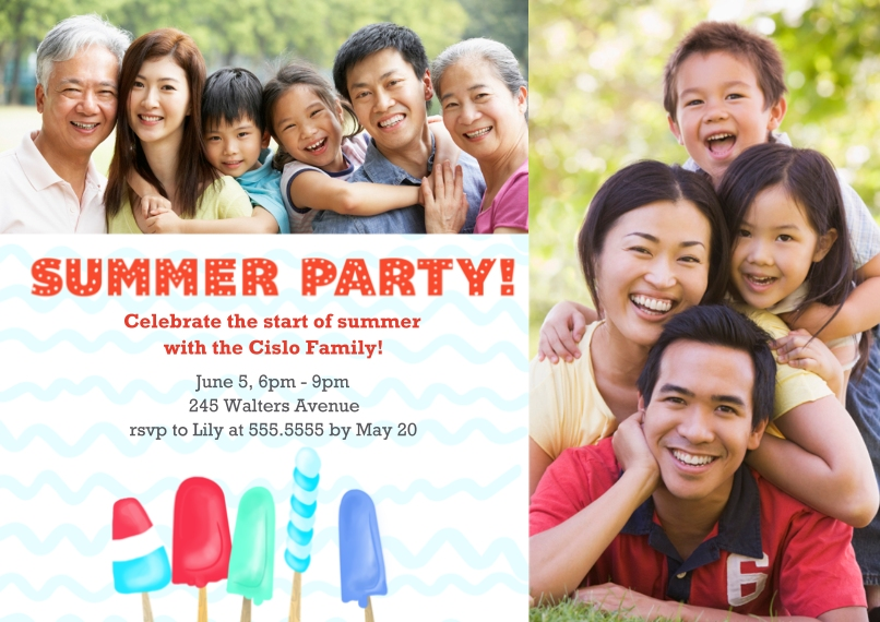 Party Invitations 5x7 Cards, Premium Cardstock 120lb with Rounded Corners, Card & Stationery -Popsicle Party