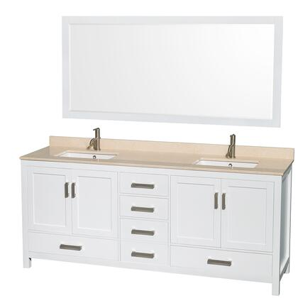 WCS141480DWHIVUNSM70 80 in. Double Bathroom Vanity in White  Ivory Marble Countertop  Undermount Square Sinks  and 70 in.
