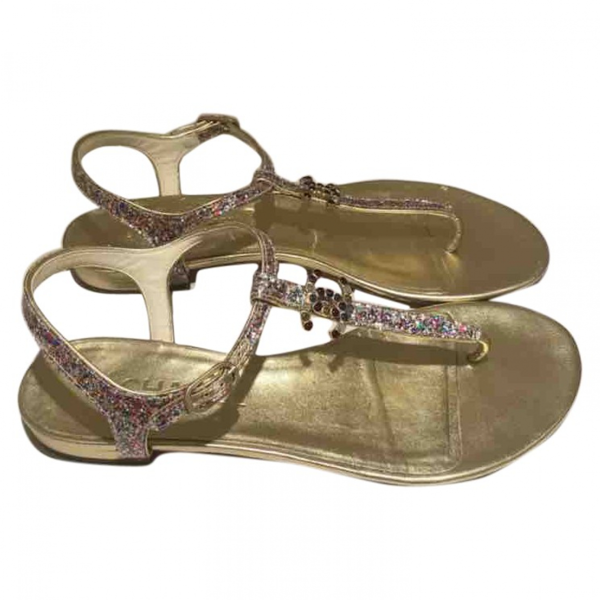 Chanel \N Gold Leather Sandals for Women 38.5 EU