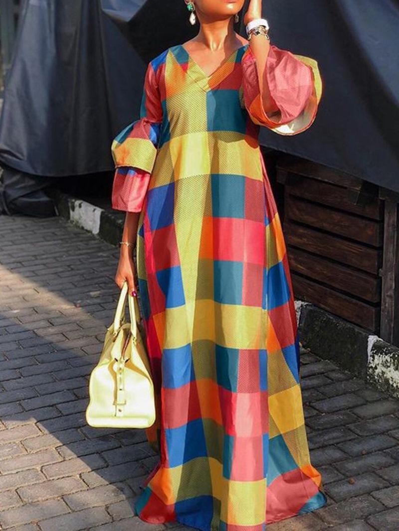 Ericdress Floor-Length V-Neck Nine Points Sleeve Casual Spring Dress