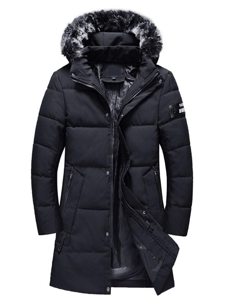 Ericdress Hooded Mid-Length Patchwork Zipper Men's Down Jacket