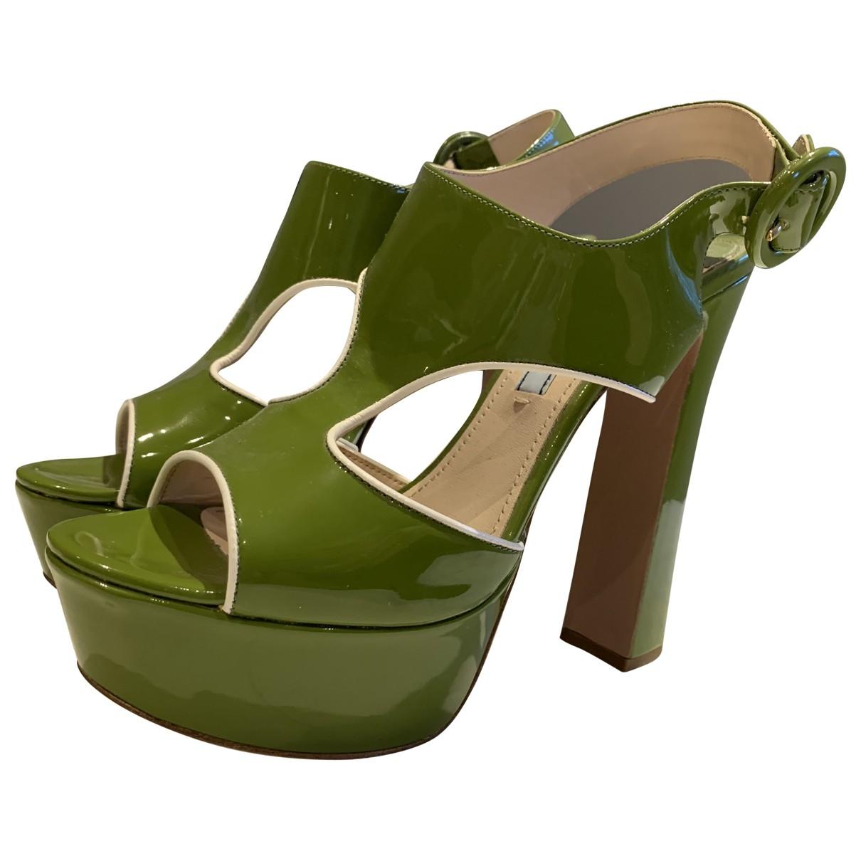 Prada - Escarpins   pour femme en cuir - vert