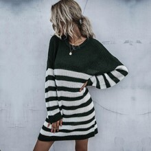 Color-Block Sweater Dress Without Belted
