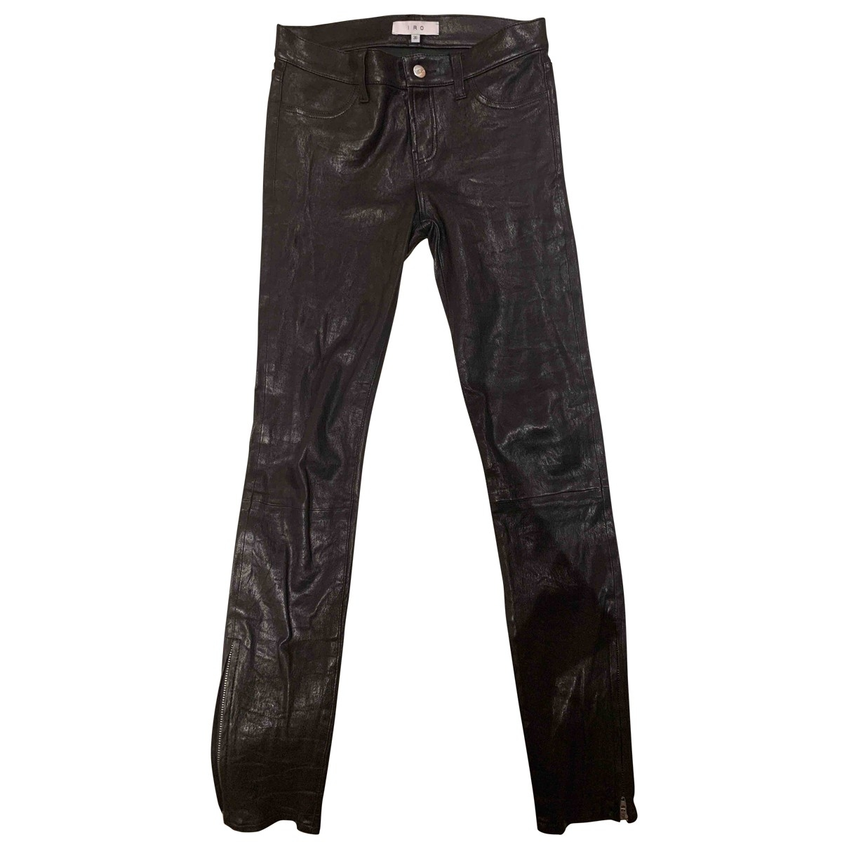 Iro \N Black Leather Trousers for Women 36 FR