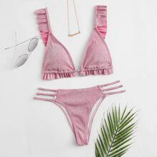 Glittered Knit Ruffled Triangle Bikini Swimsuit