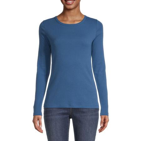 St. John's Bay-Womens Long Sleeve T-Shirt, Large , Blue