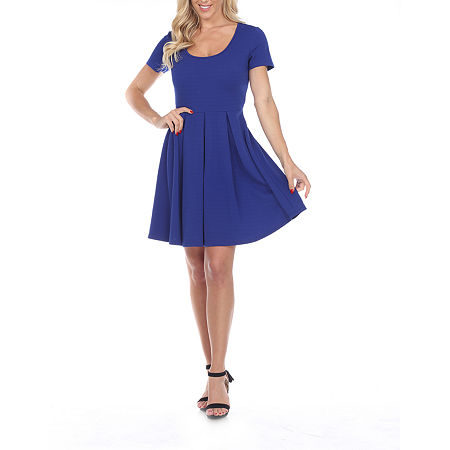 White Mark Meghan Short Sleeve Fit & Flare Dress, Large , Blue