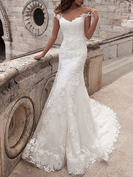 Milanoo Wedding Dresses Off The Shoulder Short Sleeves Lace Mermaid Bridal Dresses With Train