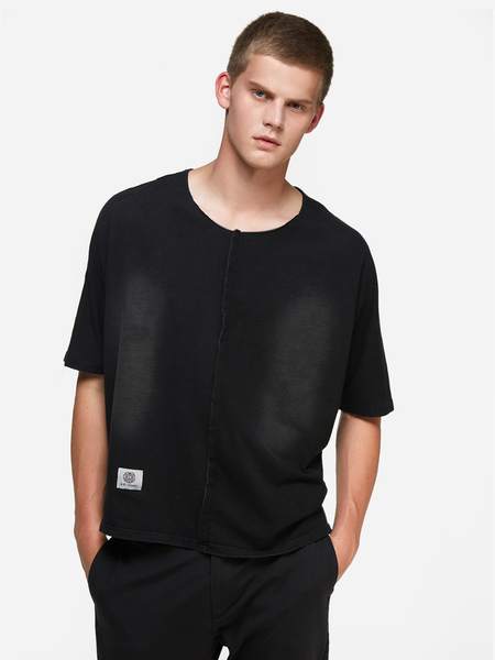 Yoins Black Split Joint Denim Round Neck Short Sleeve Oversized Men's T-Shirt