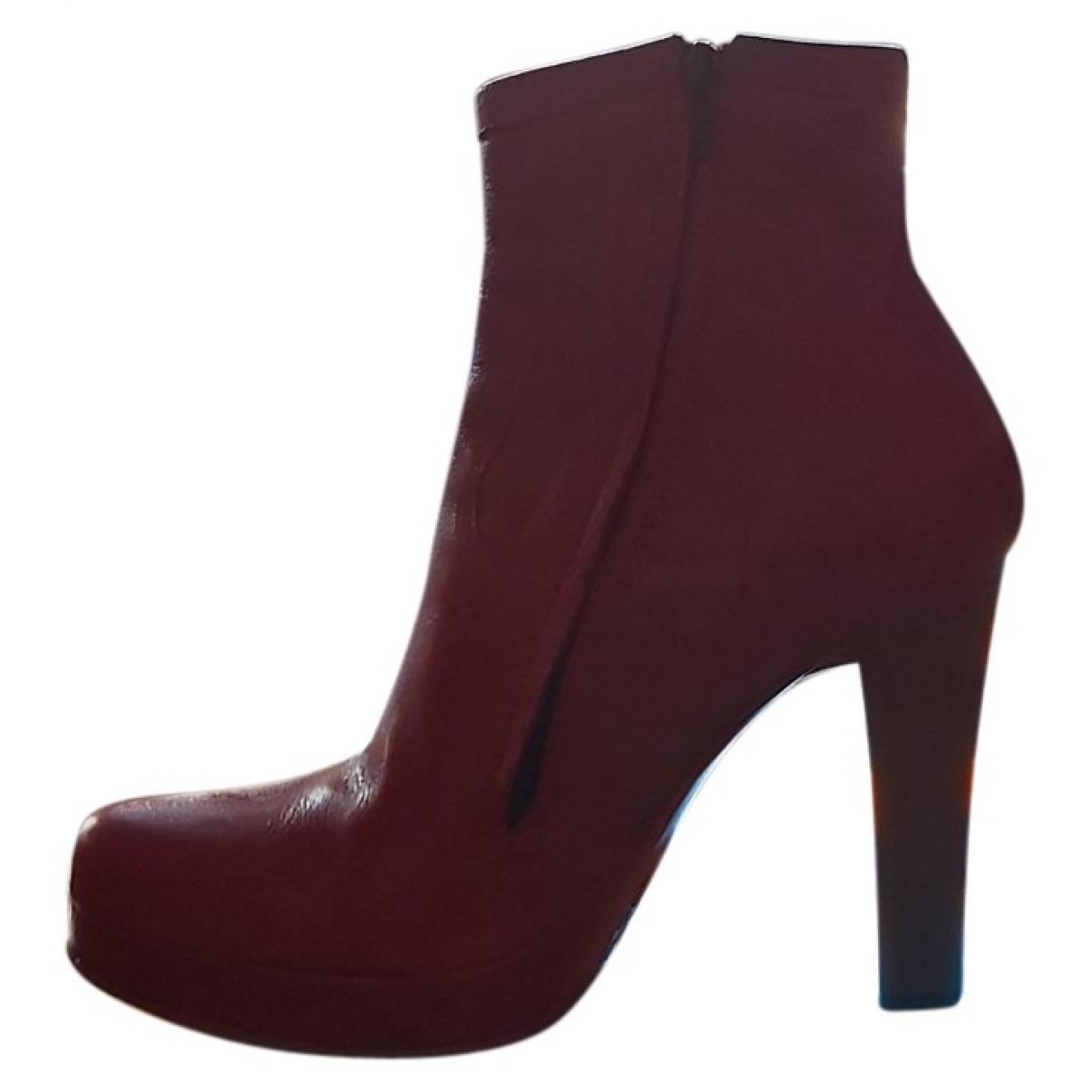 Free Lance - Boots   pour femme en cuir - rouge