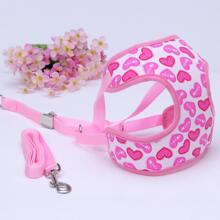1pc Heart Print Dog Harness & 1pc Dog Leash