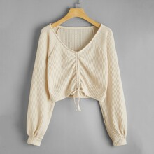 Ruched Drawstring Crop Waffle Sweater