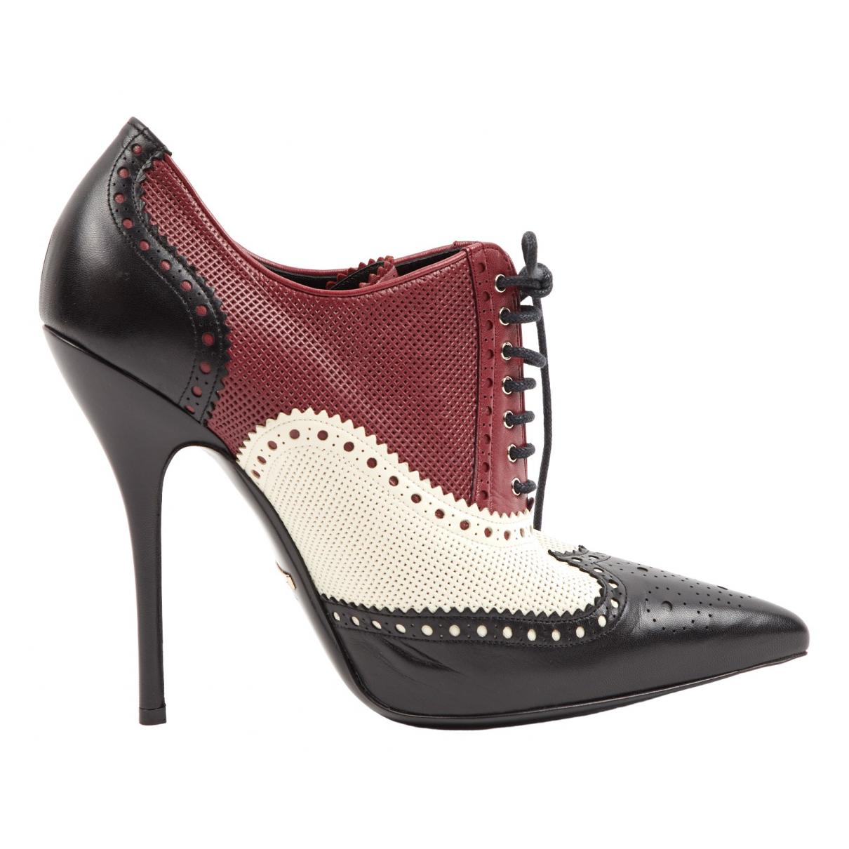 Gucci - Boots   pour femme en cuir - bordeaux