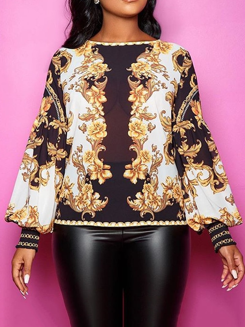 Ericdress Lantern Sleeve Print Round Neck Long Sleeve Standard Blouse