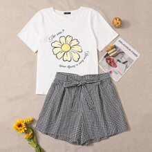 Plus Floral and Slogan Print Tee & Buffalo Plaid Shorts Set