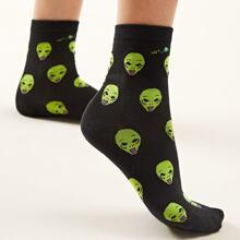 Cartoon Alien Pattern Socks