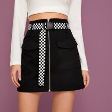Zip Cargo Skirt With Checkered Belt