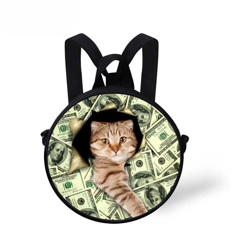 Cat Hold Money 3D Pattern Round School Bag Shoulders Backpack