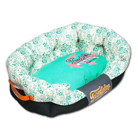 The Pet Life Touchdog Floral-Galore Ultra-Plush Rectangular Rounded Designer Dog Bed, One Size , Blue