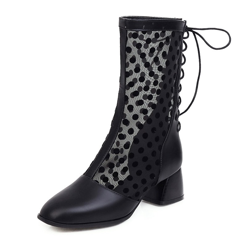 Ericdress Chunky Heel Square Toe Patchwork PU Boots