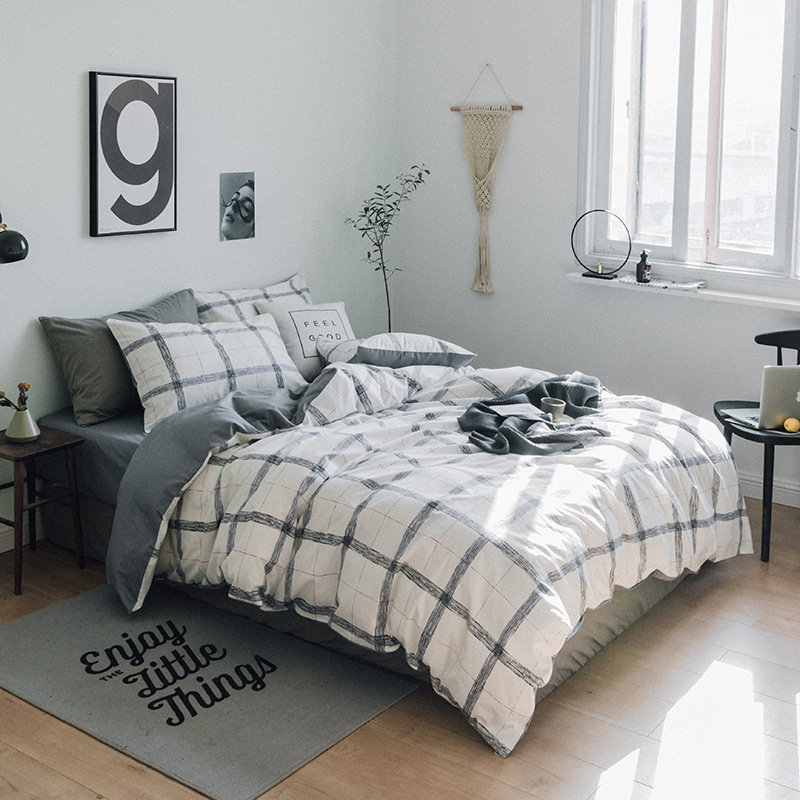4Pcs Pure Cotton Geometric Simple Style Bedding Sets Queen King Size For 1.5m 2m Bed