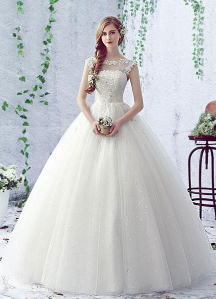 Milanoo Backless vestido ilusion cuello lentejuelas encaje flor piso longitud A linea nupcial vestido de novia