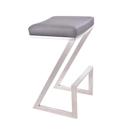 Atlantis Collection LCAT26BAGR 26 Backless Counter Height Stool with Contemporary Style  Z-Shaped Footrest  Brushed Stainless Steel Sled Base and