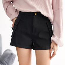 Flap Pocket Side Solid Shorts