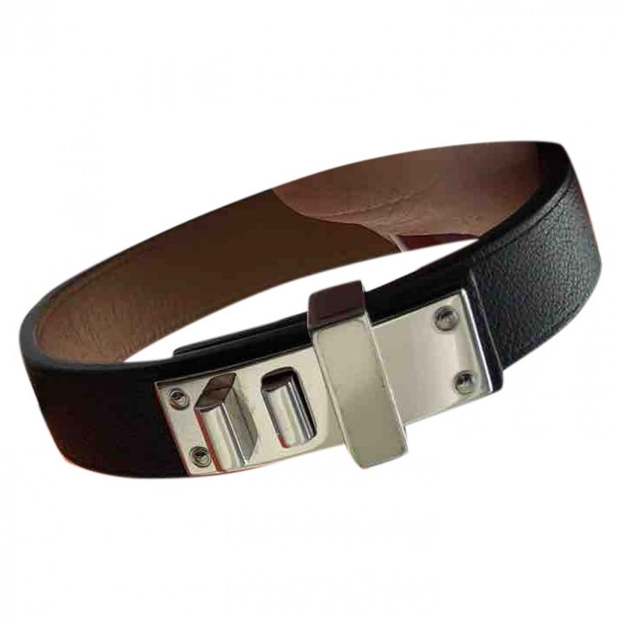 Hermes - Bracelet Extreme pour femme en cuir - noir