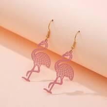 Ohrringe mit Ausschnitt und Flamingo Anhaenger